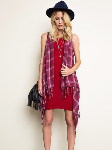 Plaid Fray Vest