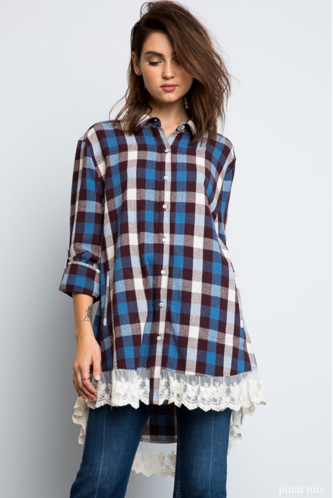 Plaid Lace Button Up