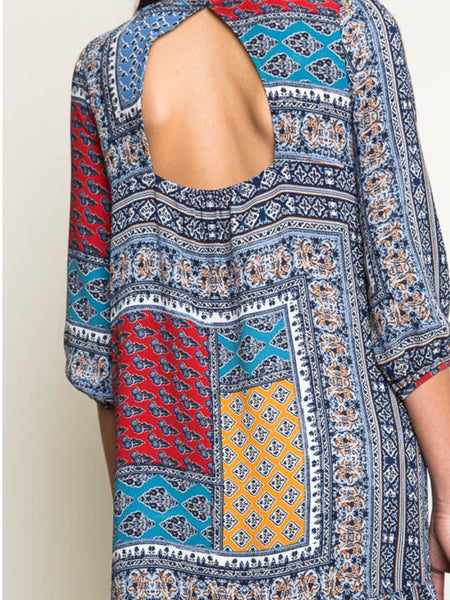 Red And Blue Printed Dress