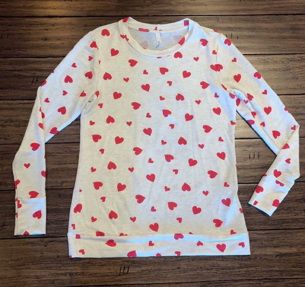 Long Sleeve Heart Print Top