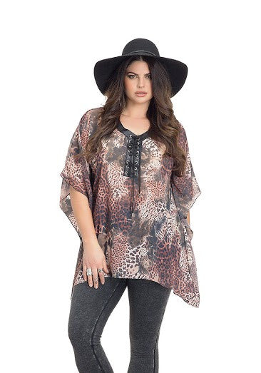 Leopard Beach Poncho Top