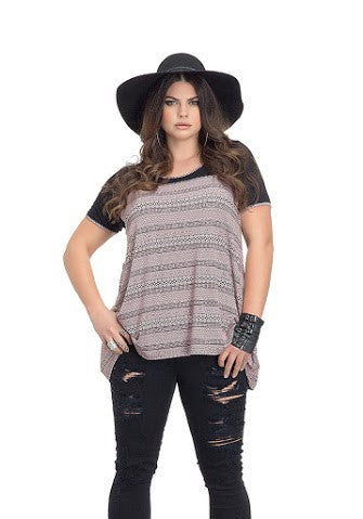 Pink Aztec Shark Bite Top Plus Size