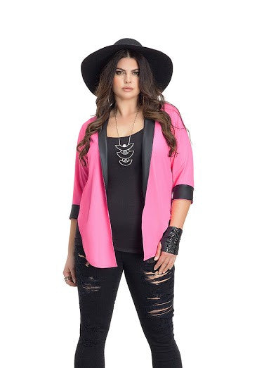 Plus Size Hot Pink Open Blazer