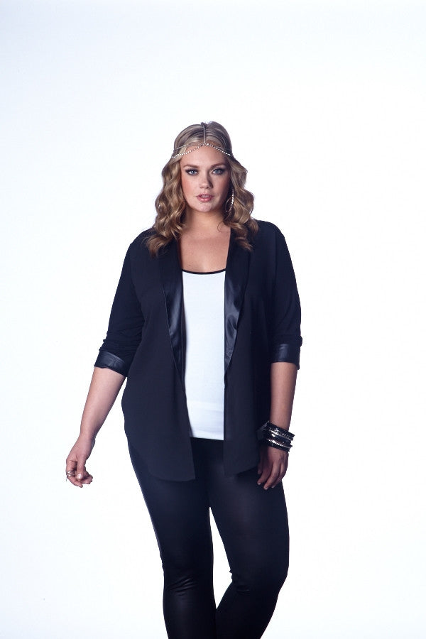 Sheer Black Blazer Top with Contrast Trim