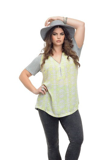 Plus Size Zipper Front Tee