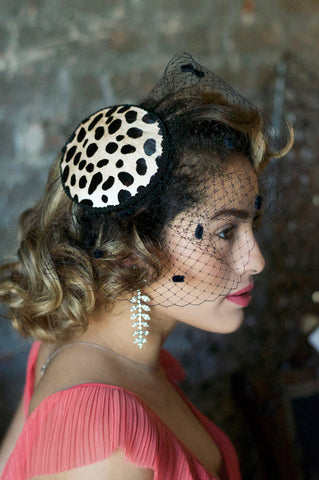 "Cheetah Print Fascinator ""Katia"""