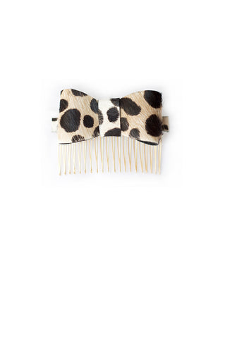 Hair Bow in Animal Print Hair-On Leather