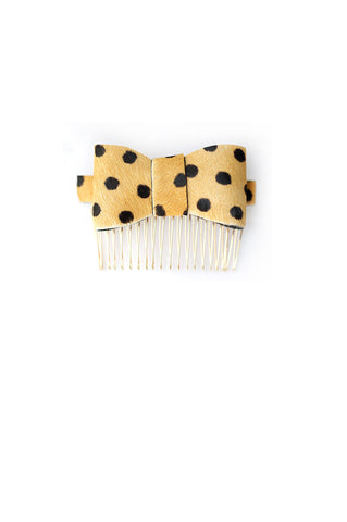 Hair Bow in Polka Dot Hair-On Leather