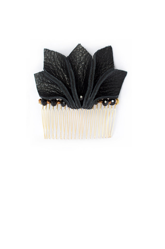Floral Shaped Hair Comb in Black Leather