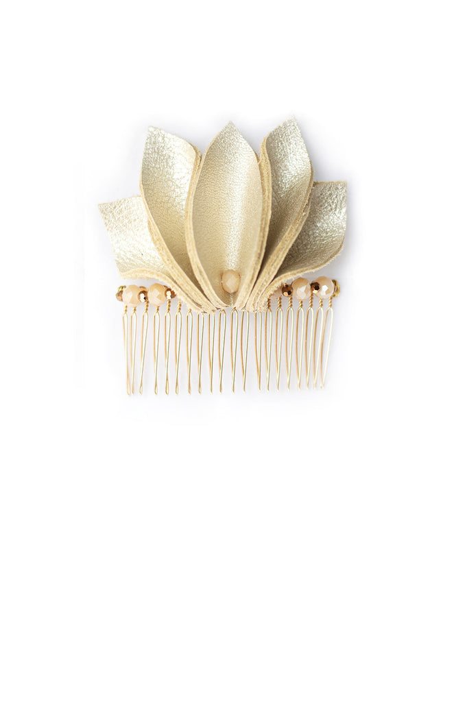 Floral Shaped Hair Comb in Metallic-Finish Leather