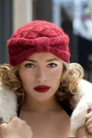 Red Knitted Turban on model