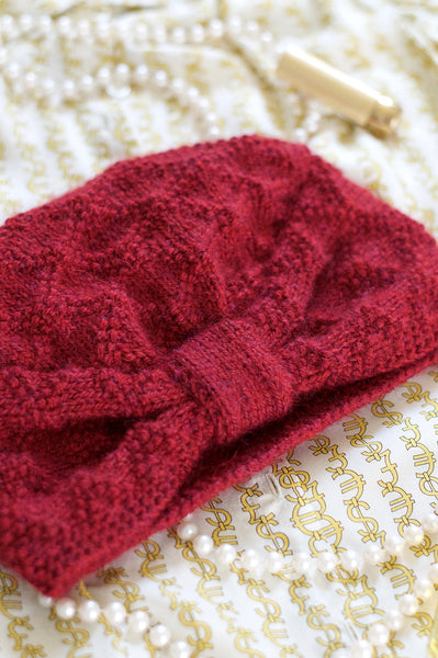 Red Knitted Turban on model Flat Lay