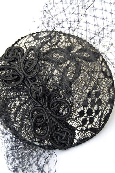 Nadine Lace Leather Fascinator Hat Product - Close Up