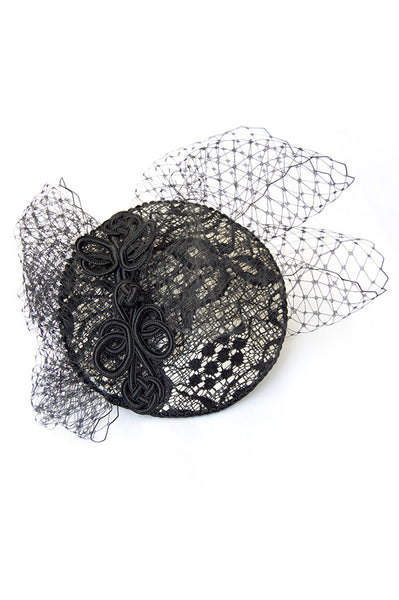 Nadine Lace Leather Fascinator Hat Product