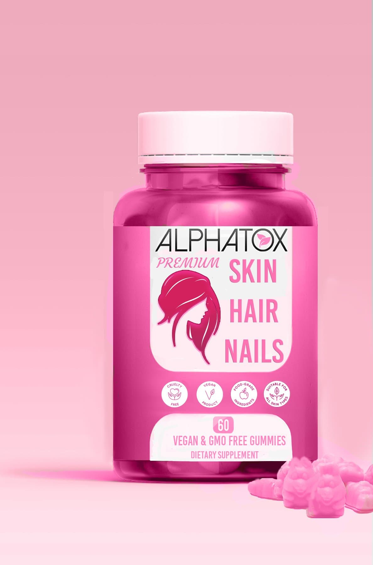Alphatox Glam Skin, Hair, Nails Biotin Gummies ( 30 Day Supply ) ( 60 CT )
