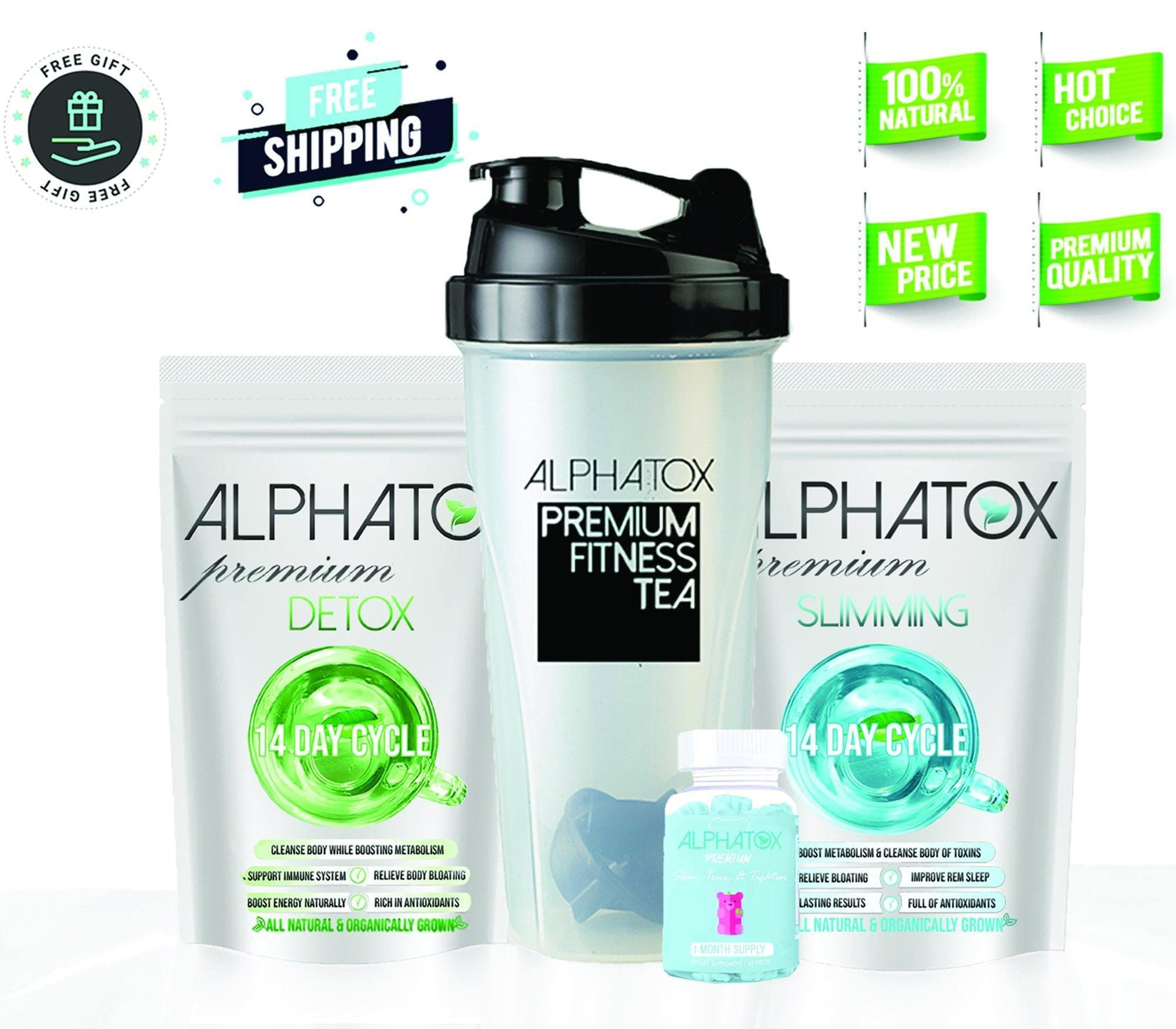 Alphatox Bundle With Toning  Gummies - Alphatox Premium Fitness Teas