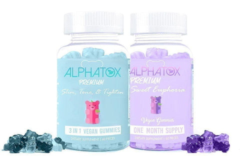 Alphatox Slimming, Toning, Tightening Gummies Bundle ( 2 x 30 Day Supply ) - Alphatox Premium Fitness Teas - #1 Rated For Over 5 Years! - Free 1-2 Day Shipping - Weight Loss Teas For Women & Men. Fat Burning Tea Infused Serums. Slimming, Skinny Gummy Bears, & More!