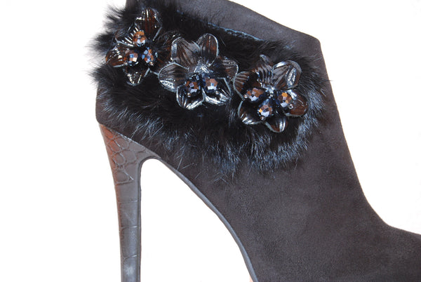 Cybel Glam Ankle Boots with Real Fur Accessory