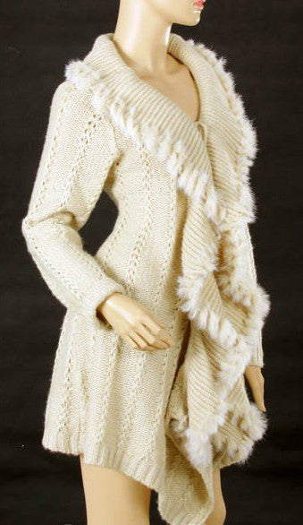 Long Cardigan with Sweetheart Ruffled Neckline Accessorized with Very Soft Fur