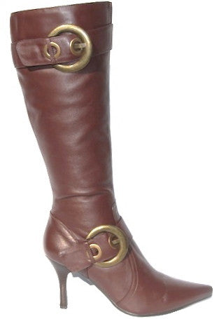 Pointed Toe Brown Genuine Leather Boots with Double Belt Accessory - Narrow