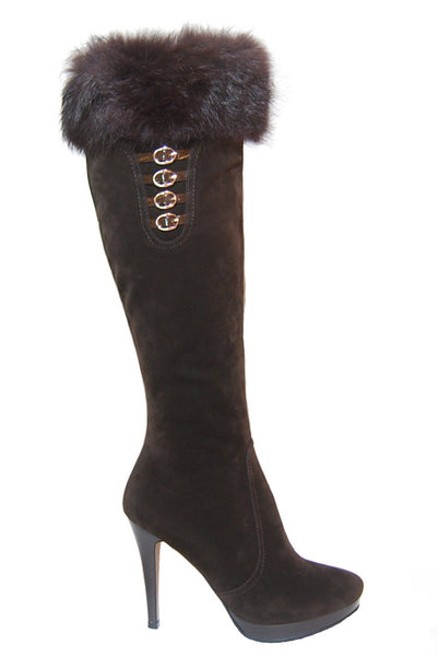 Brown Knee High Boots with Rabbit Fur and Belt Accessory