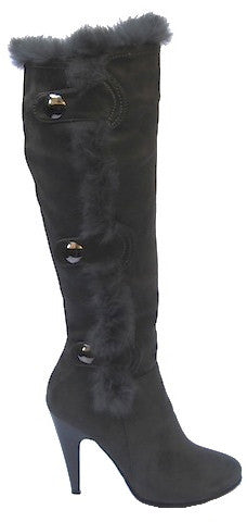 Gray Suede Knee High Boots with Rabbit Fur Accessory