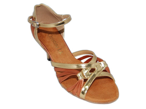 Toks Orange with Gold Lining Dance Shoes