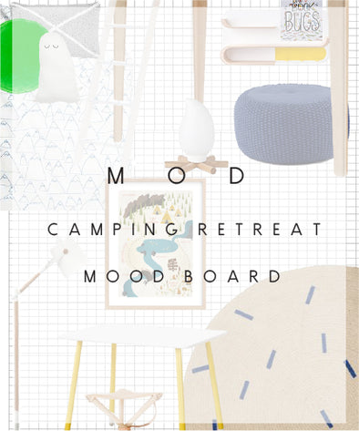 Mod boys camping themed mood board