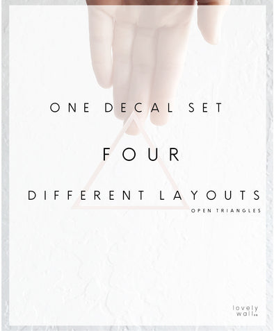 1 Decal Set styled four different ways - Hand Cut Triangles