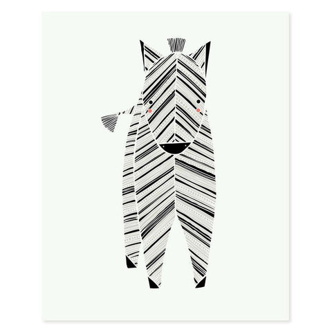 Safari Zebra Art Print 8X10