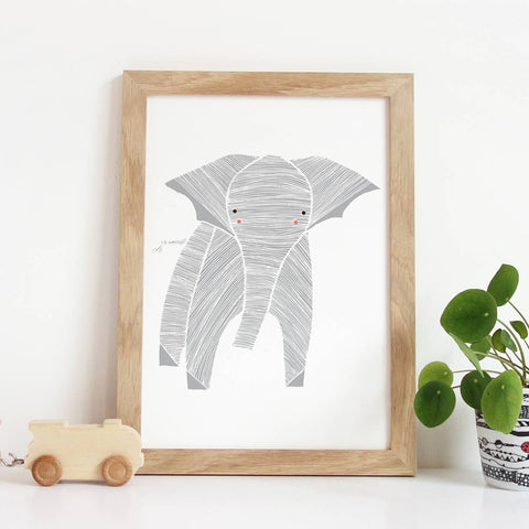 Safari Elephant Art Print 8X10