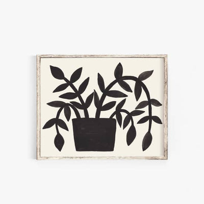 Wall Art Print Black Plant - Gouache Painting 11x14