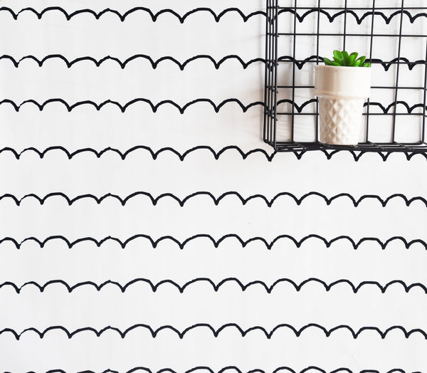 "Removable wall paper - 24"" x 48"" Sketchbook Scallop Removable wall paper tile - Wall Paper"