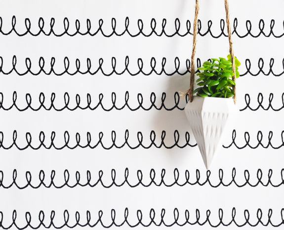 "Removable Wall Paper - 24"" x 48"" Doodle Squiggly Removable wall paper tile - Wall Paper"