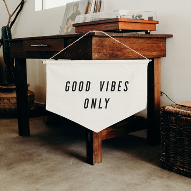 Good Vibes Only - banner, Wall Banner, Wall Canvas, Tapestry, Room Decor, Pennant Flag, Wall Hanging, Fabric Banner, Wall Flag, Flag
