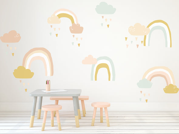 Large Rainy Rainbows -pastel  - Die Cut Decal - WALL DECAL
