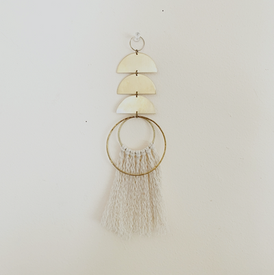 Wall Hanging - Mini Geometric Brass and Fiber Wall Hanging- Wall Decor