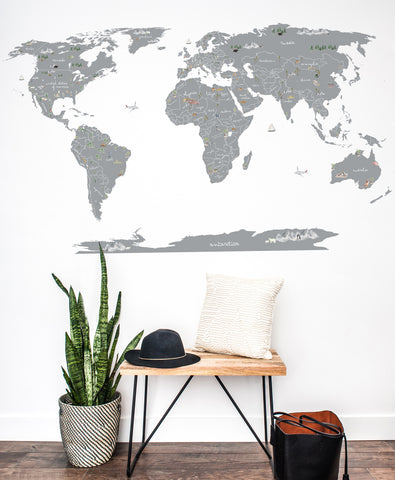 Water Color World Map Wall Decal