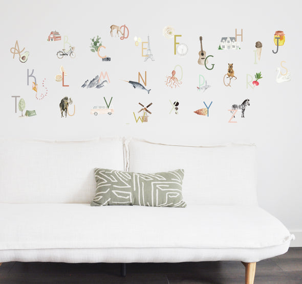 Watercolor Alphabet  - Wall Decals