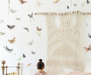 Water Color Moths + Leaves - Wall Decals