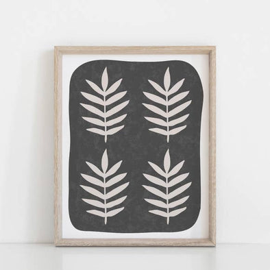 "Wall Art Print 11"" x 14"" Palm Leaf - Black - Wall Decor"