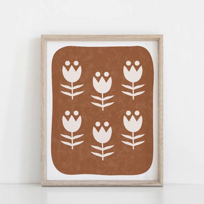 "Wall Art Print 11"" x 14"" Scandinavian Flower Pattern - Rust"