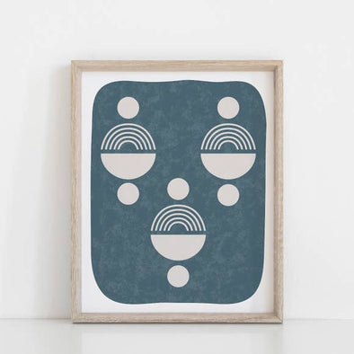 "Wall Art Print 11"" x 14"" Totem Shape Face - Faded Indigo"