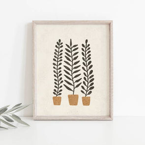 "Wall Art Print 8"" x 10"" Potted Ferns - Terracotta, Black"