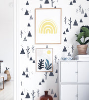 Winter Mountains and Trees Decals - WALL DECALS