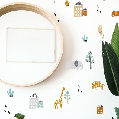 Animal Jungle Village - Wall Decals
