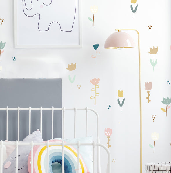 Folk Flowers and Stems - Wall Decals