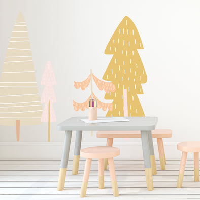 Large Fairy Tale Trees -pastel  - Die Cut Decal - WALL DECAL
