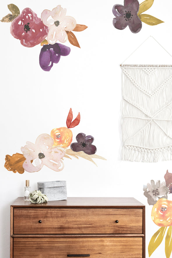 Muted Fall Tones Water Color Floral - Wall Decals