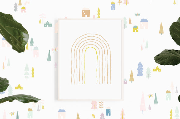 Magical Village - pastels - WALL DECAL